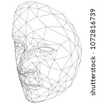 wire frame abstract human face. ... | Shutterstock .eps vector #1072816739