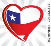 chili flag in shape of heart | Shutterstock .eps vector #1072821533