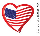 american flag  in shape of heart | Shutterstock .eps vector #1072821536
