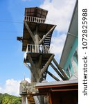 Small photo of ROATAN, HONDURAS--JANUARY 2018: Stairway to the platform of a zipline installed from the harbor of Roatan, Honduras.