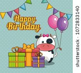 happy birthday card with cute... | Shutterstock .eps vector #1072833140