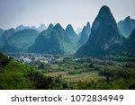 Rolling hills of Li River in Yangshuo, China