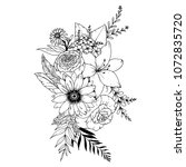 d6f0a56f53152 hand drawn doodle bouquets... | Shutterstock .eps vector #1072835720