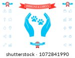 shelter pets sign icon. hands...   Shutterstock .eps vector #1072841990