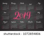 pocket calendar  2019  in dark... | Shutterstock .eps vector #1072854806