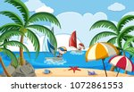 kids sailing boat on holiday... | Shutterstock .eps vector #1072861553
