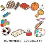 school elements banner on white ... | Shutterstock .eps vector #1072861559