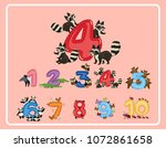 number 1 to 10 with animals...   Shutterstock .eps vector #1072861658