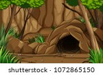 a dark rocky cave from outside... | Shutterstock .eps vector #1072865150