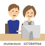 a young couple operating a... | Shutterstock .eps vector #1072869566