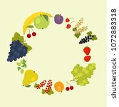 round frame of fruits and...   Shutterstock .eps vector #1072883318