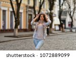 portrait of fashionable young... | Shutterstock . vector #1072889099