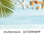 flat lay photo coconut leaf and ... | Shutterstock . vector #1072890899