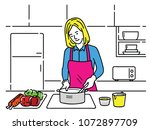 vector illustration of young... | Shutterstock .eps vector #1072897709