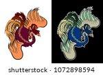 chinese peacock tattoo.phoenix... | Shutterstock .eps vector #1072898594