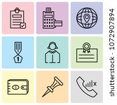set of 9 simple editable icons... | Shutterstock .eps vector #1072907894