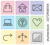 set of 9 simple editable icons... | Shutterstock .eps vector #1072908554
