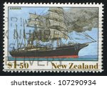 Small photo of NEW ZEALAND - CIRCA 1990: A stamp printed by New Zealand, shows The Ship, Arawa, circa 1990