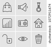 set of 9 simple editable icons... | Shutterstock .eps vector #1072911674