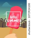 hello summer banner with ice... | Shutterstock .eps vector #1072924100