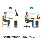 right position for work at... | Shutterstock .eps vector #1072927613