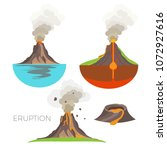 volcano eruption with hot lava... | Shutterstock .eps vector #1072927616