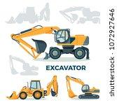 modern powerful excavator for... | Shutterstock .eps vector #1072927646
