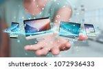businesswoman connecting tech... | Shutterstock . vector #1072936433