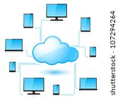 Raster version. Cloud computing. Illustration for design on white background - stock photo