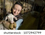 farmer woman carrying lamb in... | Shutterstock . vector #1072942799