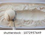 vanilla ice cream flat lay. top ... | Shutterstock . vector #1072957649