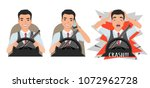 don t talk while driving. asian ... | Shutterstock .eps vector #1072962728