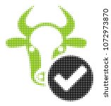cow valid halftone raster icon. ... | Shutterstock . vector #1072973870