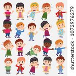 cartoon character boys and... | Shutterstock .eps vector #1072976279