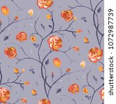 roses. hand drawn floral... | Shutterstock . vector #1072987739