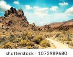 hiking trail in desert....   Shutterstock . vector #1072989680