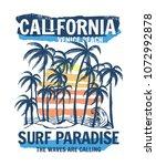 california  venice beach theme... | Shutterstock .eps vector #1072992878