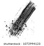 grunge tire tracks background ... | Shutterstock .eps vector #1072994123