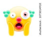 clown face screaming in fear... | Shutterstock .eps vector #1073014910