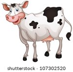 Illustration Of Cow In A White...