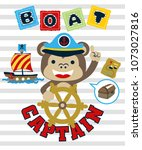 funny sailboat captain cartoon... | Shutterstock .eps vector #1073027816