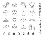 water and drop icon set in thin ... | Shutterstock .eps vector #1073028128
