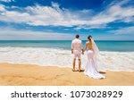 loving couple in wedding... | Shutterstock . vector #1073028929
