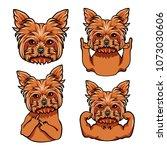 yorkshire terrier. rock gesture ... | Shutterstock .eps vector #1073030606