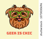 yorkshire terrier dog geek.... | Shutterstock .eps vector #1073030696