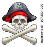 pirate jolly roger skull and...   Shutterstock . vector #1073034020