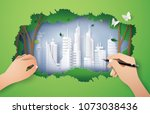 hand drawing  ecology  and... | Shutterstock .eps vector #1073038436