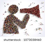 Large and diverse group of people seen from above gathered together in the shape of a man with a speaking trumpet, 3d illustration.