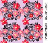 boho pattern. watercolor... | Shutterstock . vector #1073040350