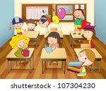 illustration of a kids studying ... | Shutterstock . vector #107304230